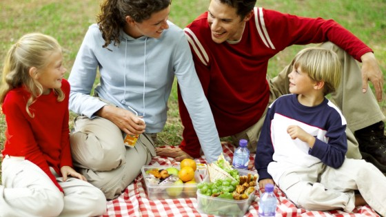 Mother Father Son and Daughter (8-11) Having a Picnic and Chatting --- Image by © Royalty-Free/Corbis
